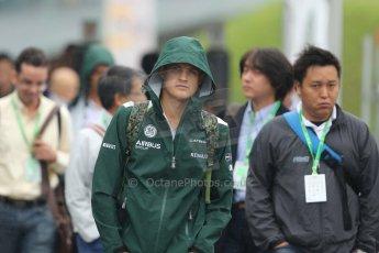 World © Octane Photographic Ltd. Sunday 5th October 2014, Japanese Grand Prix - Suzuka. Formula 1 Paddock. Caterham F1 Team - Marcus Ericsson. Digital Ref: 1138CB5D6645