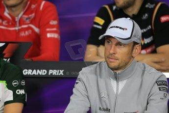 World © Octane Photographic Ltd. Thursday 2nd October 2014, Japanese Grand Prix - Suzuka. - Formula 1 Drivers' Press conference. McLaren Mercedes - Jenson Button. Digital Ref: 1131LB1D4321