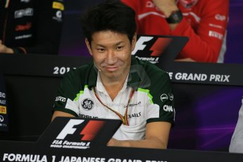 World © Octane Photographic Ltd. Thursday 2nd October 2014, Japanese Grand Prix - Suzuka. - Formula 1 Drivers' Press conference. Caterham F1 Team – Kamui Kobayashi. Digital Ref: 1131LB1D4361