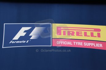 World © Octane Photographic Ltd. 2014 Formula 1 Winter Testing, Circuito de Velocidad, Jerez Winter testing set up day – Monday 27th January 2014. Pirelli official F1 tyre supplier logo. Digital Ref : 0879cb1d8832