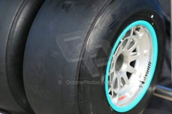 World © Octane Photographic Ltd. 2014 Formula 1 Winter Testing, Circuito de Velocidad, Jerez Winter testing set up day – Monday 27th January 2014. Mercedes AMG Petronas wheels with Pirelli black winter test compound tyres. Digital Ref : 0879cb1d9362