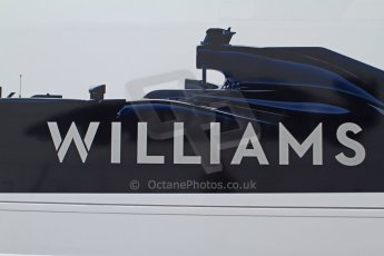World © Octane Photographic Ltd. 2014 Formula 1 Winter Testing, Circuito de Velocidad, Jerez Winter testing set up day – Monday 27th January 2014. Williams F1 team graphic of the 2014 FW36 car on a transporter's side. Digital Ref : 0879cb7d6977