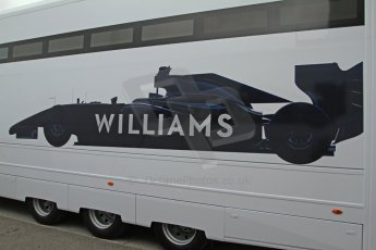 World © Octane Photographic Ltd. 2014 Formula 1 Winter Testing, Circuito de Velocidad, Jerez Winter testing set up day – Monday 27th January 2014. Williams F1 team graphic of the 2014 FW36 car on a transporter's side. Digital Ref : 0879cb7d6978