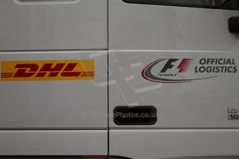 World © Octane Photographic Ltd. 2014 Formula 1 Winter Testing, Circuito de Velocidad, Jerez Winter testing set up day – Monday 27th January 2014. DHL official F1 logistics partner logos. Digital Ref : 0879cb7d7002
