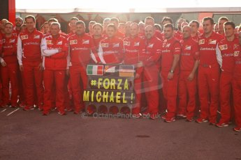World © Octane Photographic Ltd. 2014 Formula 1 Winter Testing, Circuito de Velocidad, Jerez Winter testing set up day – Monday 27th January 2014. Ferrari team members show their support for Michael Schumacher #ForzaMichael! Digital Ref : 0879lw7d7016
