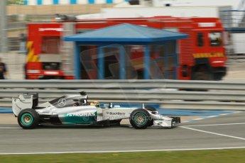 World © Octane Photographic Ltd. 2014 Formula 1 Winter Testing, Circuito de Velocidad, Jerez. Tuesday 28th January 2014. Day 1. Mercedes AMG Petronas F1 W05 – Lewis Hamilton. Digital Ref: 0882cb1d9408