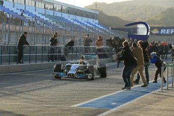 World © Octane Photographic Ltd. 2014 Formula 1 Winter Testing, Circuito de Velocidad, Jerez. Tuesday 28th January 2014. Day 1. Mercedes AMG Petronas F1 W05 – Lewis Hamilton. Digital Ref: 0882lb1d0048