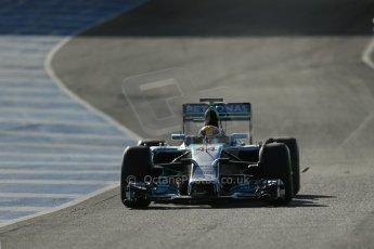 World © Octane Photographic Ltd. 2014 Formula 1 Winter Testing, Circuito de Velocidad, Jerez. Tuesday 28th January 2014. Day 1. Mercedes AMG Petronas F1 W05 – Lewis Hamilton. Digital Ref: 0882lb1d0071