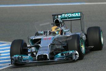 World © Octane Photographic Ltd. 2014 Formula 1 Winter Testing, Circuito de Velocidad, Jerez. Tuesday 28th January 2014. Day 1. Mercedes AMG Petronas F1 W05 – Lewis Hamilton. Digital Ref: 0882lb1d0129