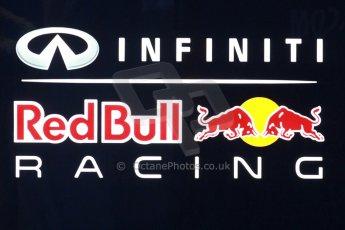 World © Octane Photographic Ltd. 2014 Formula 1 Winter Testing, Circuito de Velocidad, Jerez. Friday 31st January 2014. Day 4. Infiniti Red Bull Racing illuminated paddock sign. Digital Ref: 0888cb1d1245