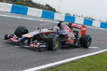 World © Octane Photographic Ltd. 2014 Formula 1 Winter Testing, Circuito de Velocidad, Jerez. Friday 31st January 2014. Day 4. Scuderia Toro Rosso STR 9 – Daniil Kvyat. Digital Ref: 0888cb1d1303