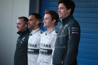 World © Octane Photographic Ltd. 2014 Formula 1 Winter Testing, Circuito de Velocidad, Jerez. Tuesday 27th January 2014. Mercedes AMG Petronas F1 W05 launch – Toto Wolff, Lewis Hamilton, and Nico Rosberg. Digital Ref: 0884cb1d9195