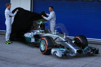 World © Octane Photographic Ltd. 2014 Formula 1 Winter Testing, Circuito de Velocidad, Jerez. Tuesday 27th January 2014. Mercedes AMG Petronas F1 W05 launch – Nico Rosberg and Lewis Hamilton. Digital Ref: 0884lb1d9657