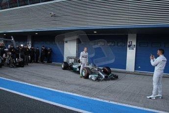 World © Octane Photographic Ltd. 2014 Formula 1 Winter Testing, Circuito de Velocidad, Jerez. Tuesday 27th January 2014. Mercedes AMG Petronas F1 W05 launch – Nico Rosberg and Lewis Hamilton. Digital Ref: 0884lw7d7307