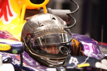 World © Octane Photographic Ltd. Thursday 22nd May 2014. Monaco - Monte Carlo - Formula 1 Practice 1. Infiniti Red Bull Racing RB10 - Sebastian Vettel in his Monaco special helmet. Digital Ref: 0958CB7D1996