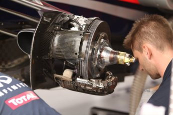 World © Octane Photographic Ltd. Thursday 22nd May 2014. Monaco - Monte Carlo - Formula 1 Practice 1. Infiniti Red Bull Racing RB10 - Front brake with sheathing removed. Digital Ref: 0958CB7D2058