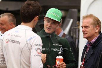 World © Octane Photographic Ltd. Thursday 22nd May 2014. Monaco - Monte Carlo - Formula 1 Practice 1. Caterham F1 Team CT05 – Marcus Ericsson with Jonathan and Jolyon Palmer (GP2 - DAMS). Digital Ref: 0958CB7D2129