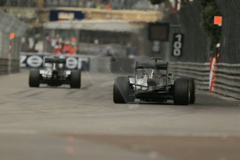 World © Octane Photographic Ltd. Thursday 22nd May 2014. Monaco - Monte Carlo - Formula 1 Practice 1. Mercedes AMG Petronas F1 W05 Hybrid - Nico Rosberg and lewis Hamilton. Digital Ref: 0958LB1D3496