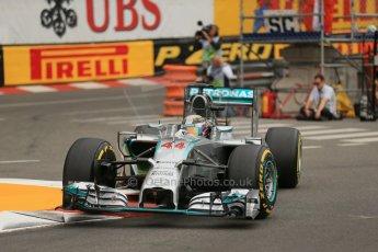 World © Octane Photographic Ltd. Thursday 22nd May 2014. Monaco - Monte Carlo - Formula 1 Practice 1. Mercedes AMG Petronas F1 W05 Hybrid – Lewis Hamilton. Digital Ref: 0958LB1D3863