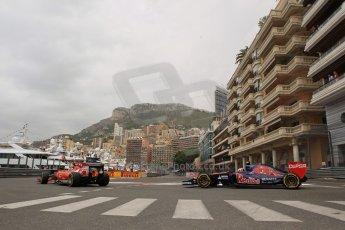 World © Octane Photographic Ltd. Thursday 22nd May 2014. Monaco - Monte Carlo - Formula 1 Practice 1. Scuderia Ferrari F14T – Kimi Raikkonen and Scuderia Toro Rosso STR 9 – Daniil Kvyat. Digital Ref: 0958LB1D6154