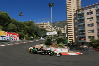 World © Octane Photographic Ltd. Saturday 24th May 2014. Monaco - Monte Carlo - Formula 1 Practice 3. Sahara Force India VJM07 – Sergio Perez. Digital Ref: 0965LB1D6975