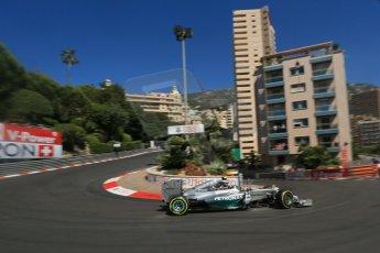 World © Octane Photographic Ltd. Saturday 24th May 2014. Monaco - Monte Carlo - Formula 1 Practice 3. Mercedes AMG Petronas F1 W05 Hybrid - Nico Rosberg. Digital Ref: 0965LB1D6987