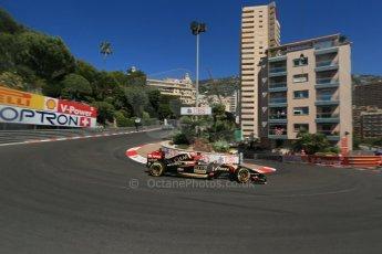 World © Octane Photographic Ltd. Saturday 24th May 2014. Monaco - Monte Carlo - Formula 1 Practice 3. Lotus F1 Team E22 - Romain Grosjean. Digital Ref: 0965LB1D7101