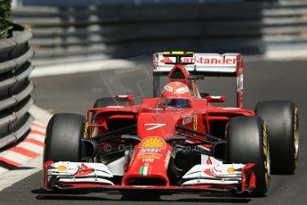 World © Octane Photographic Ltd. Saturday 24th May 2014. Monaco - Monte Carlo - Formula 1 Practice 3. Scuderia Ferrari F14T – Kimi Raikkonen. Digital Ref: 0965LB1D7511