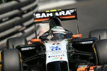 World © Octane Photographic Ltd. Saturday 24th May 2014. Monaco - Monte Carlo - Formula 1 Practice 3. Sahara Force India VJM07 – Sergio Perez. Digital Ref: 0965LB1D7531