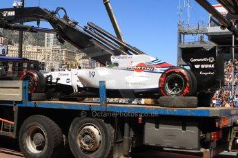 World © Octane Photographic Ltd. Saturday 24th May 2014. Monaco - Monte Carlo - Formula 1 Qualifying. Williams Martini Racing FW36 – Felipe Massa's car returns to the pits on a flatbed truck. Digital Ref: 0967CB7D5368