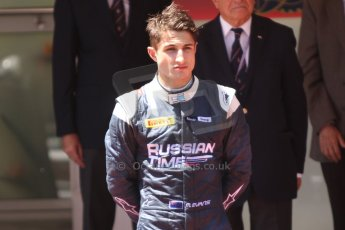 World © Octane Photographic Ltd. Friday 23rd May 2014. GP2 Feature Race – Monaco, Monte Carlo. Mitch Evans (2nd) on the podium - RT Russian Time. Digital Ref : 0963CB7D3168