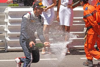 World © Octane Photographic Ltd. Friday 23rd May 2014. GP2 Feature Race – Monaco, Monte Carlo. Mitch Evans (2nd) sprays his champagne - RT Russian Time. Digital Ref : 0963CB7D3191