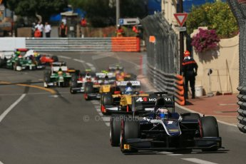 World © Octane Photographic Ltd. Friday 23rd May 2014. GP2 Feature Race – Monaco, Monte Carlo. Mitch Evans - RT Russian Time leads Jolyon Palmer - DAMS. Digital Ref : 0963LB1D5142