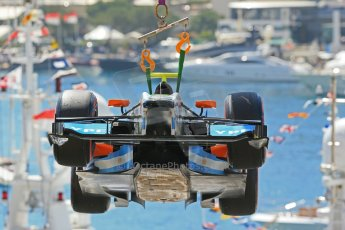 World © Octane Photographic Ltd. Friday 23rd May 2014. GP2 Feature Race – Monaco, Monte Carlo. Facu Regalia's car being recovered - Hilmer Motorsport. Digital Ref: 0963LB1D5617