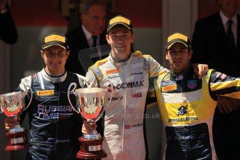 World © Octane Photographic Ltd. Friday 23rd May 2014. GP2 Feature Race – Monaco, Monte Carlo.  Jolyon Palmer (1st) - DAMS, Mitch Evans (2nd) - RT Russian Time and Felipe Nasr (3rd) on the podium - Carlin. Digital Ref : 0963LB1D7333