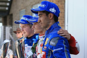 World © Octane Photographic Ltd. Protyre Formula Renault Championship. June 1st 2014.  Race 2 – Castle Donington. Pietro Fittipaldi (1st) and Tarun Reddy (3rd) – MGR Motorsport and Alex Gill - Fortec Motorsports (2nd). Digital Ref : 0975CB1D0888