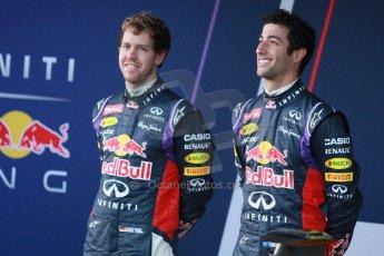 World © Octane Photographic Ltd. 2014 Formula 1 Winter Testing, Circuito de Velocidad, Jerez. Tuesday 27th January 2014. Day 1. Infiniti Red Bull Racing RB10 launch. Sebastian Vettel and Daniel Ricciardo. Digital Ref: 0885cb1d9258