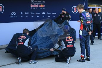 World © Octane Photographic Ltd. 2014 Formula 1 Winter Testing, Circuito de Velocidad, Jerez. Tuesday 27th January 2014. Day 1. Infiniti Red Bull Racing RB10 launched by Sebastian Vettel and Daniel Ricciardo. Digital Ref: