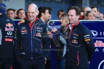 World © Octane Photographic Ltd. 2014 Formula 1 Winter Testing, Circuito de Velocidad, Jerez. Tuesday 27th January 2014. Day 1. Infiniti Red Bull Racing RB10 launch - Daniel Ricciardo, Adrian Newey and Christian Horner. Digital Ref: