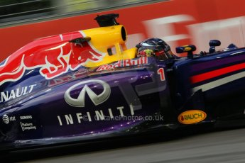 World © Octane Photographic Ltd. Friday 19th September 2014, Singapore Grand Prix, Marina Bay. Formula 1 Practice 1. Infiniti Red Bull Racing RB10 - Sebastian Vettel. Digital Ref: