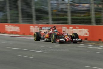 World © Octane Photographic Ltd. Friday 19th September 2014, Singapore Grand Prix, Marina Bay. - Formula 1 Practice 1. Scuderia Ferrari F14T - Fernando Alonso. Digital Ref: