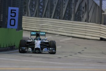 World © Octane Photographic Ltd. Friday 19th September 2014, Singapore Grand Prix, Marina Bay. - Formula 1 Practice 1. Mercedes AMG Petronas F1 W05 - Nico Rosberg. Digital Ref: 1118LB1D9442