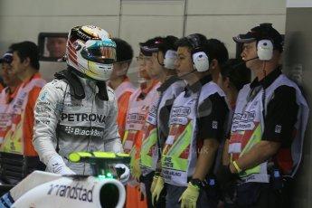 World © Octane Photographic Ltd. Saturday 20th September 2014, Singapore Grand Prix, Marina Bay. - Formula 1 Qualifying Parc Ferme. Mercedes AMG Petronas F1 W05 – Lewis Hamilton. Digital Ref: 1125LB1D2884