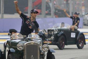 World © Octane Photographic Ltd. Saturday 20th September 2014, Singapore Grand Prix, Marina Bay. - Formula 1 Drivers' Parade. Infiniti Red Bull Racing RB10 – Daniel Ricciardo and Sebastian Vettel. Digital Ref: 1127CB1D0842