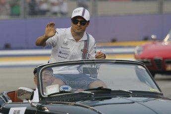 World © Octane Photographic Ltd. Saturday 20th September 2014, Singapore Grand Prix, Marina Bay. - Formula 1 Drivers' Parade. Williams Martini Racing FW36 – Felipe Massa. Digital Ref: 1127CB1D0873