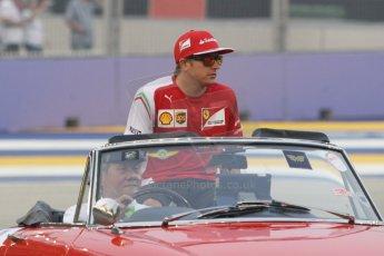 World © Octane Photographic Ltd. Saturday 20th September 2014, Singapore Grand Prix, Marina Bay. - Formula 1 Drivers' Parade. Scuderia Ferrari F14T – Kimi Raikkonen. Digital Ref: 1127CB1D0877