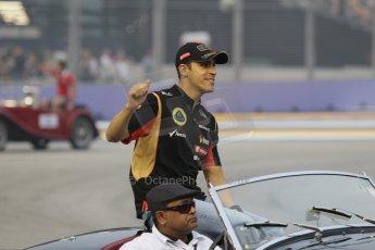 World © Octane Photographic Ltd. Saturday 20th September 2014, Singapore Grand Prix, Marina Bay. - Formula 1 Drivers' Parade. Lotus F1 Team E22 – Pastor Maldonado. Digital Ref: 1127CB1D0937
