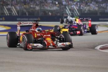 World © Octane Photographic Ltd. Sunday 21st September 2014, Singapore Grand Prix, Marina Bay. - Formula 1 Race. Scuderia Ferrari F14T - Fernando Alonso and Infiniti Red Bull Racing RB10 – Daniel Ricciardo. Digital Ref: