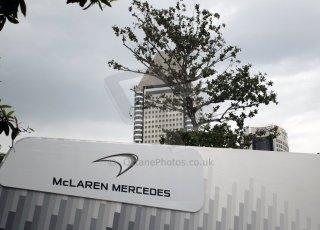 World © Octane Photographic Ltd. Saturday 20th September 2014, Singapore Grand Prix, Marina Bay. Formula 1 Paddock. McLaren Mercedes. Digital Ref: 1122CB1D8186