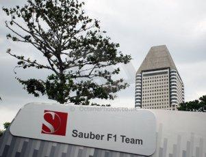 World © Octane Photographic Ltd. Saturday 20th September 2014, Singapore Grand Prix, Marina Bay. Formula 1 Paddock. Sauber F! Team. Digital Ref: 1122CB1D8187